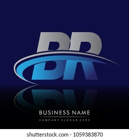 initial letter BR logotype company name colored blue and grey swoosh design. vector logo for business and company identity.