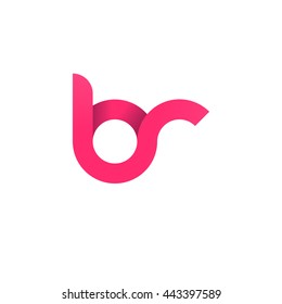 initial letter br modern linked circle round lowercase logo pink