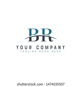 Initial letter BR, overlapping movement swoosh horizon logo company design inspiration in blue and gray color vector