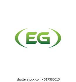 initial letter EG brackets uppercase logo green element template