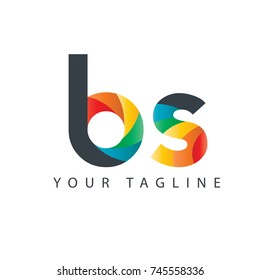 Initial Letter BS Curve Rounded Design Logo