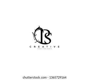 Initial Letter BS Linked Monogram Floral Modern Gothic Logotype