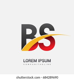 initial letter BS logotype company name colored red, black and yellow swoosh design. isolated on white background.