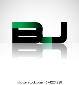 Initial letter BU uppercase modern and simple logo linked green and black colored, isolated in white background. Vector design for company identity.