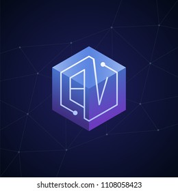 Initial letter BV, block chain, looping mono line circuit letter on hexagon cube logo, blue magenta gradient color on black blue network background