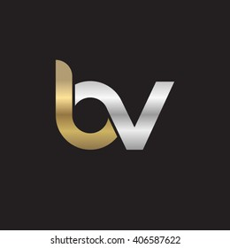 initial letter bv linked circle lowercase logo gold silver black background