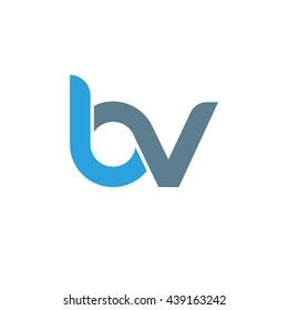 initial letter bv linked round lowercase logo blue