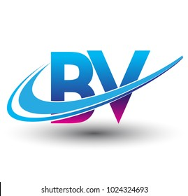 initial letter BV logotype company name colored blue and magenta swoosh design. vector logo for business and company identity.