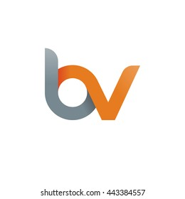 initial letter bv modern linked circle round lowercase logo orange gray