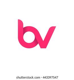 initial letter bv modern linked circle round lowercase logo pink