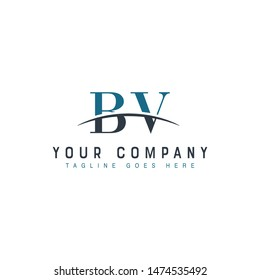 Initial letter BV, overlapping movement swoosh horizon logo company design inspiration in blue and gray color vector