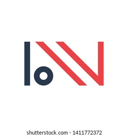 Initial letter bw, bn minimalist typographic art monogram shape business brand identity logo, navy and red color on white background.