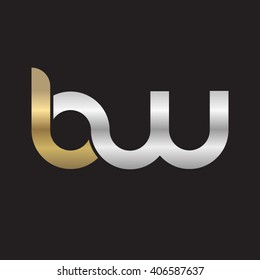initial letter bw linked circle lowercase logo gold silver black background