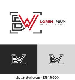 Initial Letter BW linked uppercase overlap modern logo design template. Suitable for business, consulting group company