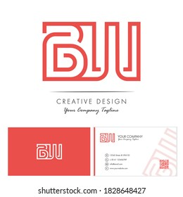 Initial letter BW Letter Logo Design with creative modern name card vector Illustration. BW Letter Logo Concept Ready For Use. Initial letter BW logo vector design template.