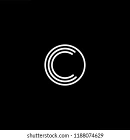 Initial letter C CC CCC OC CO minimalist art monogram shape logo, white color on black background.