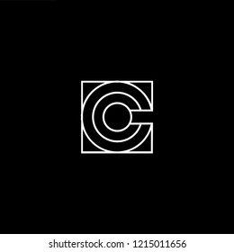 Initial letter C CC CCC minimalist art logo, white color on black background.