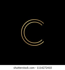 Initial letter C CC minimalist art logo, gold color on black background