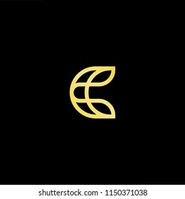 Initial letter C CC minimalist art monogram shape logo, gold color on black background