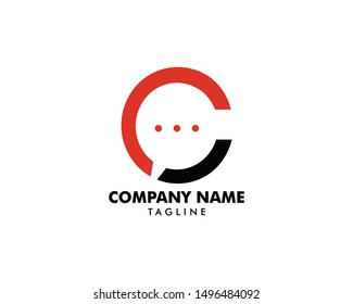 Initial Letter C Chat Logo Template Design