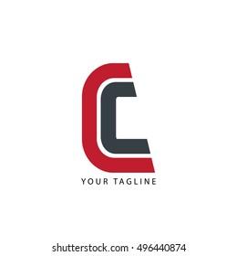 Initial Letter C Design Logo Red Black
