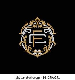 Initial letter C and F, CF, FC, decorative ornament emblem badge, overlapping monogram logo, elegant luxury silver gold color on black background