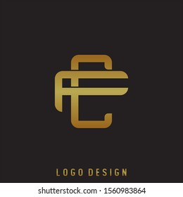 Initial letter C and F, CF, FC, overlapping interlock logo, monogram line art style, gold color on black background