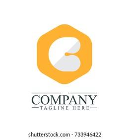 Initial Letter C Hexagonal Design Logo