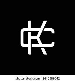 Initial letter C and K, CK, KC, overlapping interlock monogram logo, white color on black background