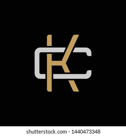 Initial letter C and K, CK, KC, overlapping interlock logo, monogram line art style, silver gold on black background