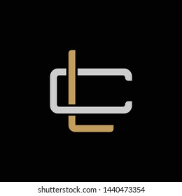 Initial letter C and L, CL, LC, overlapping interlock logo, monogram line art style, silver gold on black background