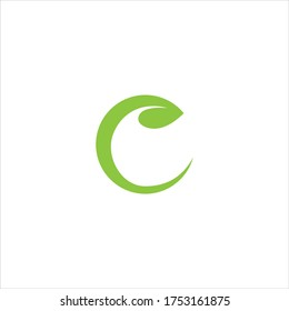 Initial letter C with leaf luxury logo, Green leaf logo template vector design.