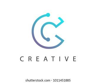 Initial Letter C logo Connected circle symbol. Design Template Element