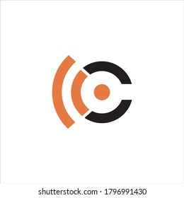 initial letter C logo. signal wave wifi wireless audio concept.