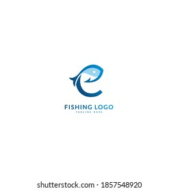 Initial letter C logotype. Minimalist fish logo concept, fit for fishing, seafood restaurant, packaging or ocean traveling. Illustration vector logo.