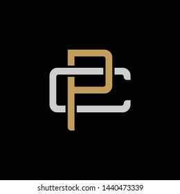 Initial letter C and P, CP, PC, overlapping interlock logo, monogram line art style, silver gold on black background