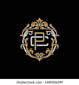Initial letter C and P, CP, PC, decorative ornament emblem badge, overlapping monogram logo, elegant luxury silver gold color on black background