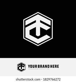 Initial letter C, T, TC or CT overlapping, interlock, monogram logo, white color on black background