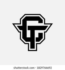 Initial letter C, T, TC or CT overlapping, interlock, monogram logo, black color on white background