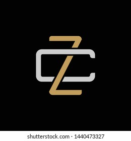 Initial letter C and Z, CZ, ZC, overlapping interlock logo, monogram line art style, silver gold on black background