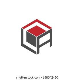 Initial letter CA 3d box design logo
