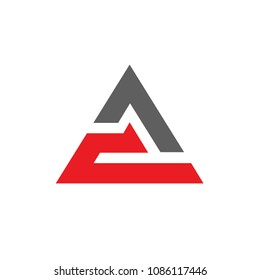 Initial letter CA or AC logo, triangle icon design, vector illustration
