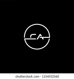 Initial letter CA AC minimalist art monogram circle shape logo, white color on black background