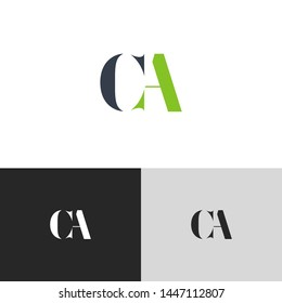 Initial Letter ca c a  uppercase modern logo design template elements. green letter Isolated on black white grey background. Suitable for business, consulting group company.