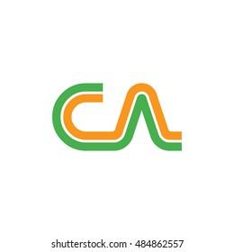 Initial Letter CA CN Linked Logo Green Orange