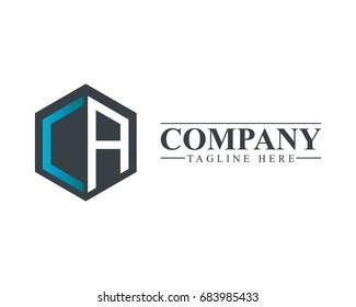 Initial Letter CA Hexagonal Design Logo