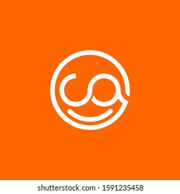 Initial letter ca logo template with smiley face line art illustration in flat design monogram symbol