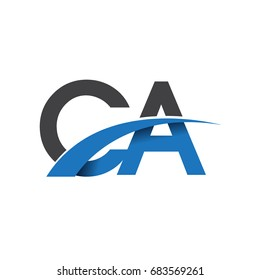 initial letter CA logotype company name colored blue and grey swoosh design. vector logo for business and company identity.