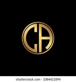 Initial letter CA, minimalist art monogram circle shape logo, gold color on black background