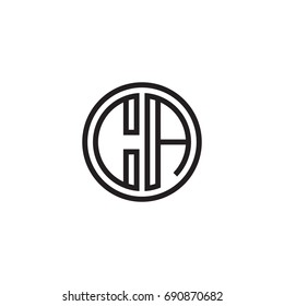 Initial letter CA, minimalist line art monogram circle logo, black color